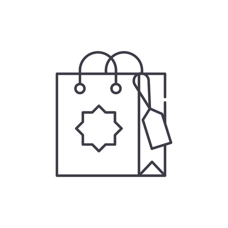Gift bag line icon concept. Gift bag vector linear illustration, sign, symbol