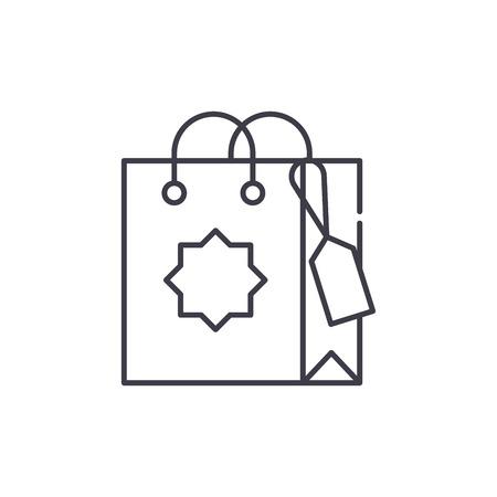 Gift bag line icon concept. Gift bag vector linear illustration, sign, symbol