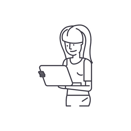 Girl watching movie by tablet line icon concept. Girl watching movie by tablet vector linear illustration, sign, symbol Archivio Fotografico - 127493713