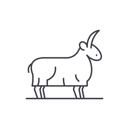 Goat line icon concept. Goat vector linear illustration, sign, symbol Ilustracja