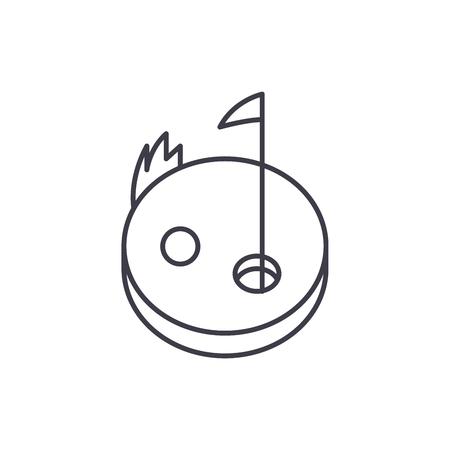Golf line icon concept. Golf vector linear illustration, sign, symbol