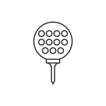 Golf ball line icon concept. Golf ball vector linear illustration, sign, symbol Illustration