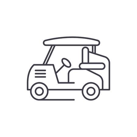 Golf car line icon concept. Golf car vector linear illustration, sign, symbol Illustration