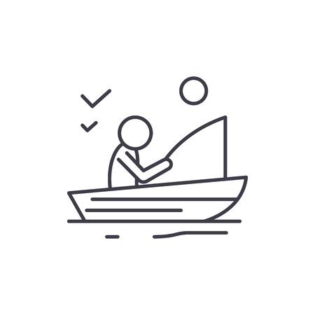 Bon concept d'icône de ligne de pêche. Bonne illustration linéaire vectorielle de pêche, signe, symbole Vecteurs