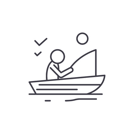 Good fishing line icon concept. Good fishing vector linear illustration, sign, symbol