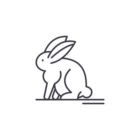 Hare line icon concept. Hare vector linear illustration, sign, symbol