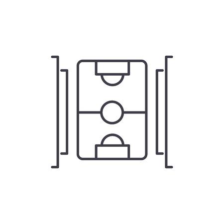 Hockey field line icon concept. Hockey field vector linear illustration, sign, symbol Illustration
