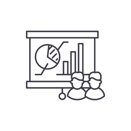 Holding focus group line icon concept. Holding focus group vector linear illustration, sign, symbol
