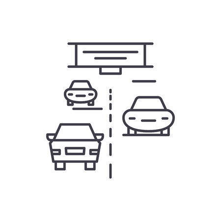 Highway line icon concept. Highway vector linear illustration, sign, symbol Illustration