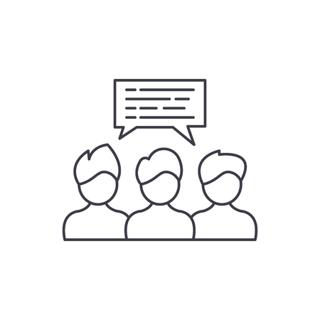 Group coaching line icon concept. Group coaching vector linear illustration, sign, symbol