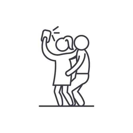 Group selfie line icon concept. Group selfie vector linear illustration, sign, symbol