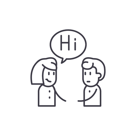 Girl communicates with a guy line icon concept. Girl communicates with a guy vector linear illustration, sign, symbol