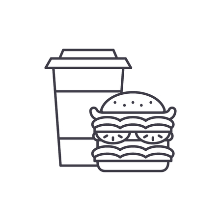 Hamburger and coffee line icon concept. Hamburger and coffee vector linear illustration, sign, symbol Vettoriali
