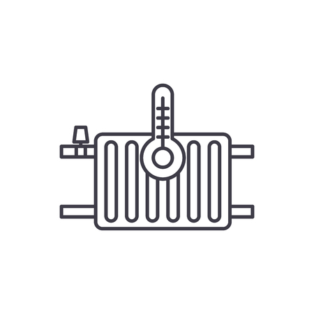 Heating radiators line icon concept. Heating radiators vector linear illustration, sign, symbol