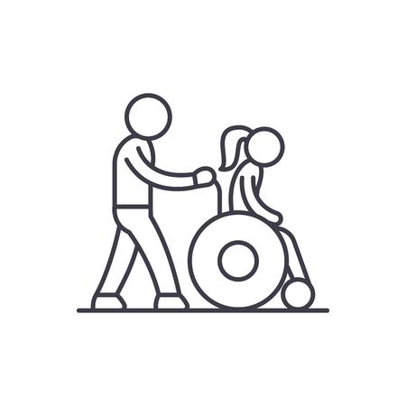 Help close line icon concept. Help close vector linear illustration, sign, symbol
