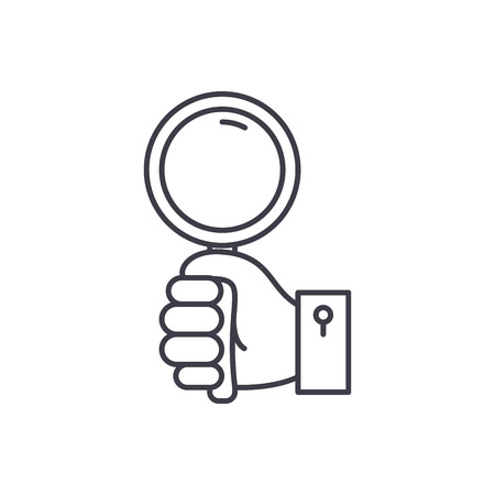 Hand with magnifier line icon concept. Hand with magnifier vector linear illustration, sign, symbol Standard-Bild - 112840559