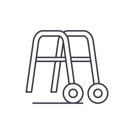 Handrails for walking line icon concept. Handrails for walking vector linear illustration, sign, symbol