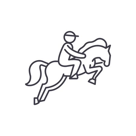 Horse racing line icon concept. Horse racing vector linear illustration, sign, symbol Vettoriali