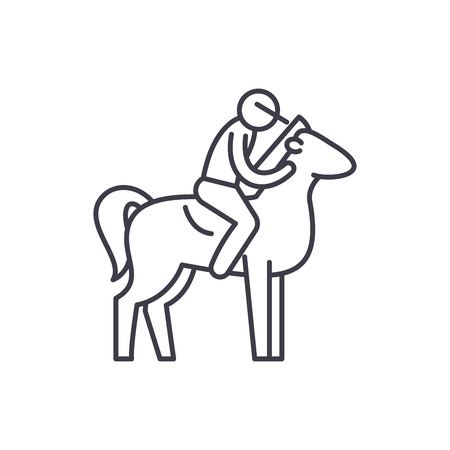 Horseback riding line icon concept. Horseback riding vector linear illustration, sign, symbol