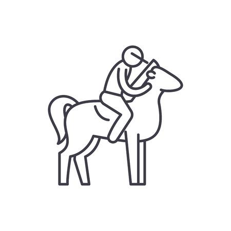 Horseback riding line icon concept. Horseback riding vector linear illustration, sign, symbol