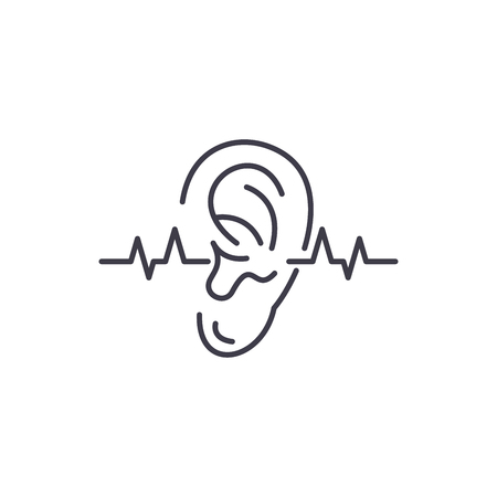 Hearing test line icon concept. Hearing test vector linear illustration, sign, symbol