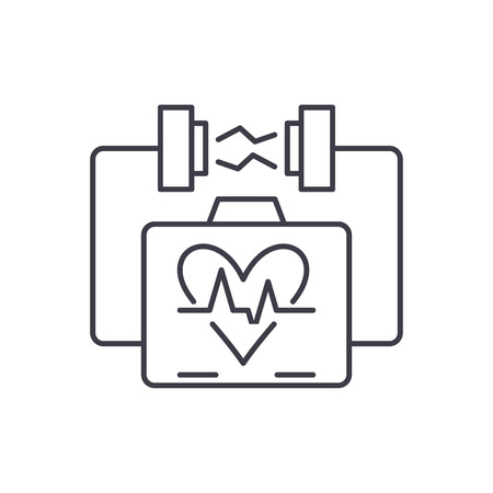 Heart stimulation line icon concept. Heart stimulation vector linear illustration, sign, symbol