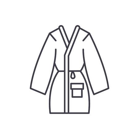Home bathrobe line icon concept. Home bathrobe vector linear illustration, sign, symbol