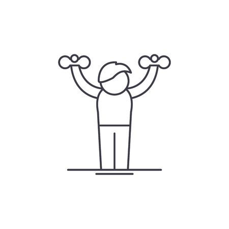 Home gymnastics line icon concept. Home gymnastics vector linear illustration, sign, symbol Illustration