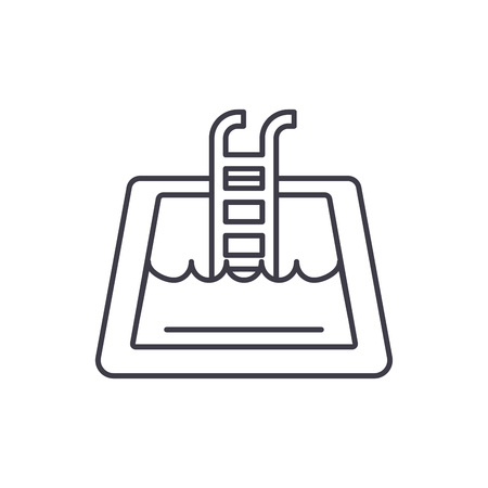 Home pool line icon concept. Home pool vector linear illustration, sign, symbol Illustration