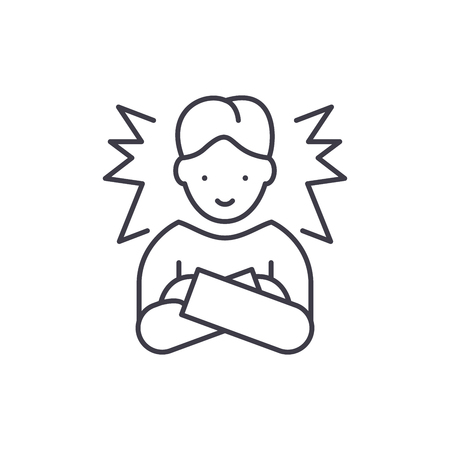 Ideal employee line icon concept. Ideal employee vector linear illustration, sign, symbol 写真素材 - 112840665