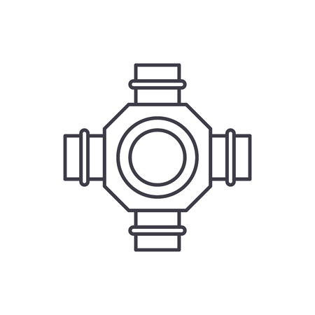 Hub line icon concept. Hub vector linear illustration, sign, symbol 向量圖像
