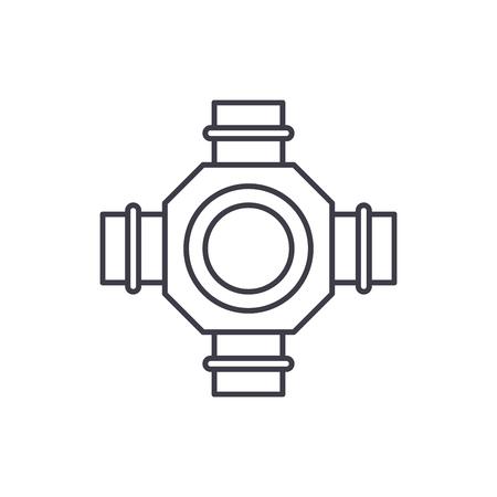 Hub line icon concept. Hub vector linear illustration, sign, symbol Illustration