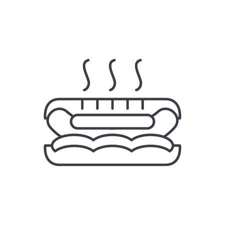 Hot dog line icon concept. Hot dog vector linear illustration, sign, symbol