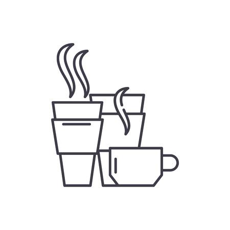 Hot drinks line icon concept. Hot drinks vector linear illustration, symbol, sign Иллюстрация