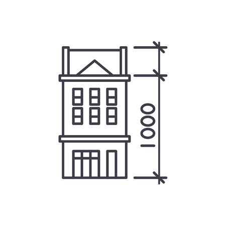 House characteristics line icon concept. House characteristics vector linear illustration, sign, symbol