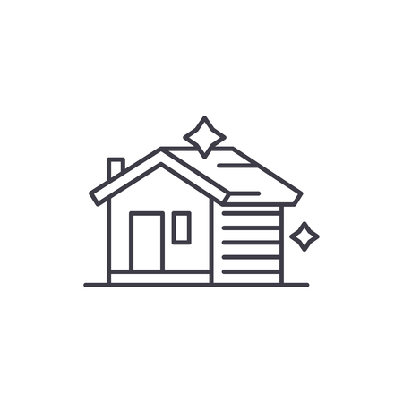 House cleaning line icon concept. House cleaning vector linear illustration, sign, symbol Illustration