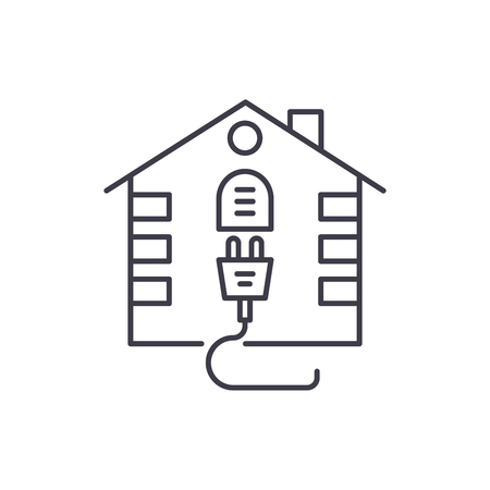 House electrical system line icon concept. House electrical system vector linear illustration, sign, symbol