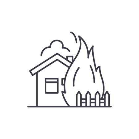 House fire line icon concept. House fire vector linear illustration, sign, symbol Illustration