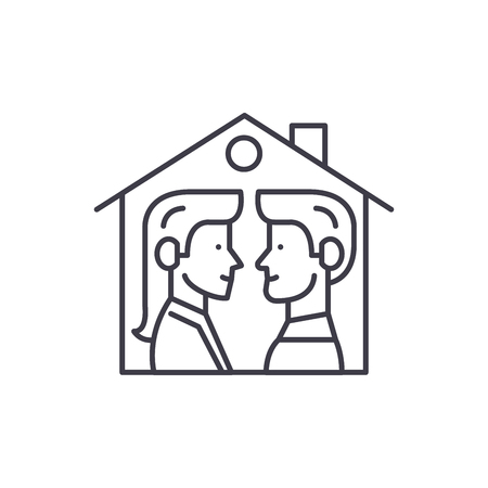 House for two line icon concept. House for two vector linear illustration, sign, symbol Çizim