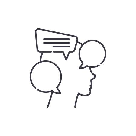 Internal dialogue line icon concept. Internal dialogue vector linear illustration, sign, symbol