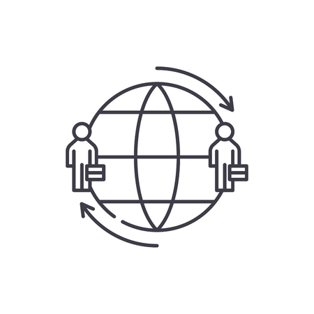 International team line icon concept. International team vector linear illustration, sign, symbol
