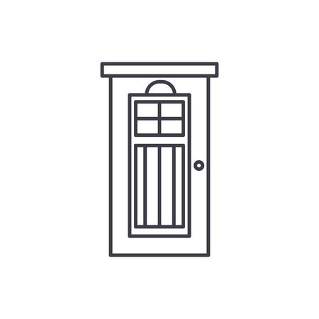 Interroom door line icon concept. Interroom door vector linear illustration, sign, symbol