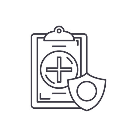 Insurance line icon concept. Insurance vector linear illustration, sign, symbol Illustration