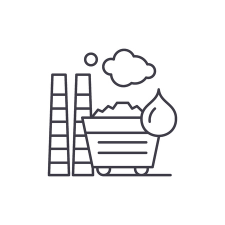 Industrial pollution line icon concept. Industrial pollution vector linear illustration, sign, symbol Illustration
