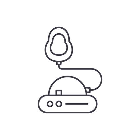 Concepto de icono de línea de inhalación. Ilustración lineal de vector de inhalación, signo, símbolo