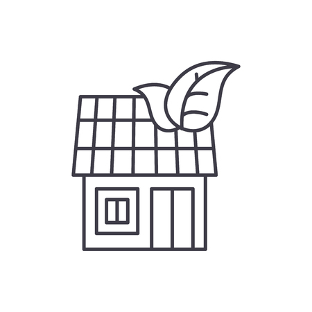 It house line icon concept. It house vector linear illustration, sign, symbol Illustration