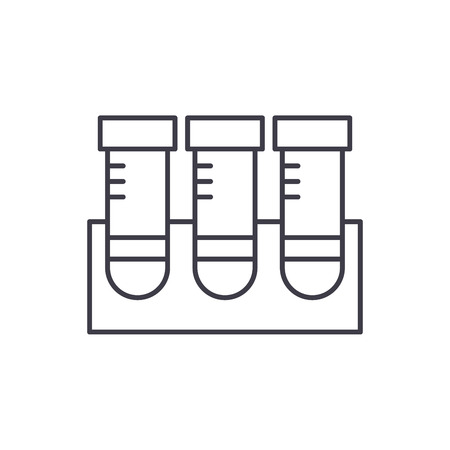 Lab research line icon concept. Lab research vector linear illustration, sign, symbol Illustration