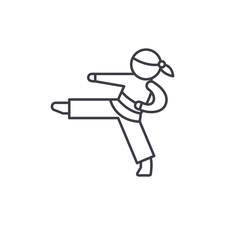 Karate line icon concept. Karate vector linear illustration, sign, symbol Illustration
