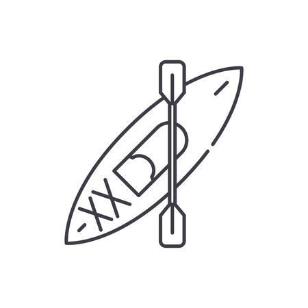 Kayaks line icon concept. Kayaks vector linear illustration, symbol, sign