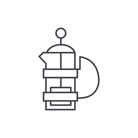 Kettle with a press line icon concept. Kettle with a press vector linear illustration, sign, symbol